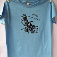 Hunger Games Mockingjay t shirt Blue size medium by geekchicartist