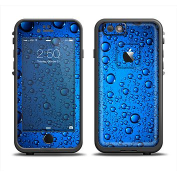 The Glowing Blue Vivid RainDrops Apple iPhone 6 LifeProof Fre Case Skin Set