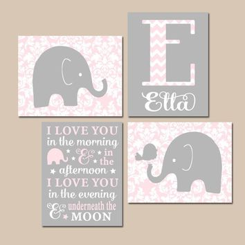 ELEPHANT Nursery Wall Art, Pink Gray Damask Nursery, I Love You in the Morning, Baby Girl Decor, Canvas or Prints, Elephant Bird, Set of 4