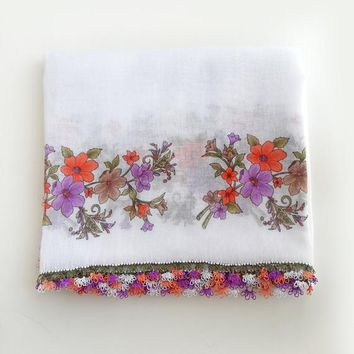 White floral scarf - Boho scarf Gift for mother Turkish scarf Square scarf Cotton scarf Floral shawl
