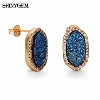 ShinyGem Oval Hexagon Crystal Earrings Natural Crystal Druzy Stud Earrings Gold Plating Colorful Druzy Party Earrings For Women