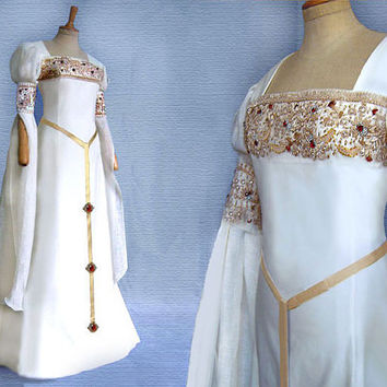 Elven bride dress CALEYA of Medieval Renaissance Galadriel Arwen