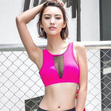 Sexy Breathable Mesh Sports Bra for Women Fitness Running Yoga Crop Tops