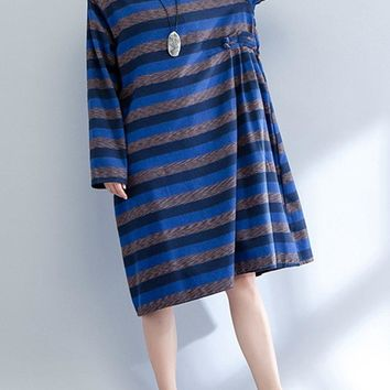 Casual Stripe Frog Button Loose Long Sleeve O-neck Women Dresses