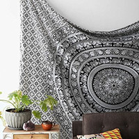 Elephant Black and white Mandala Hippie Hippy Bohemian Tapestry + 1 Free Cushion Cover Wall Hangings Throw Cotton Bedcover Ethnic Decorative Décor Dorm Wall Art