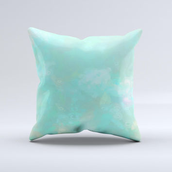 Bright Teal WaterColor Panel ink-Fuzed Decorative Throw Pillow