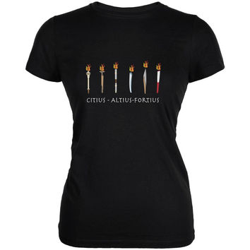 Evolution of the Olympic Torches Black Juniors Soft T-Shirt