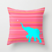Baby Elephant Throw Pillow by Rachel Sample