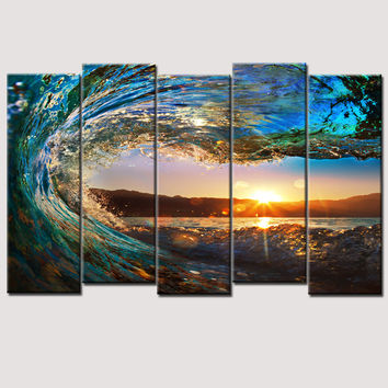 Art Oil Painting 5 Piece large huge wave modern ocean No Frame