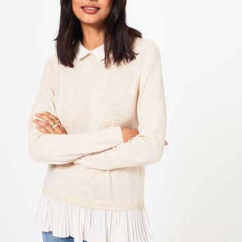 Knitted Pleated 2 in 1 Jumper - Knitwear - Apparel