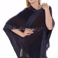 Mixed Color Poncho with Fringe in 5 Different Styles