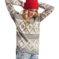 High-Low Tribal Print Sweater | Wet Seal