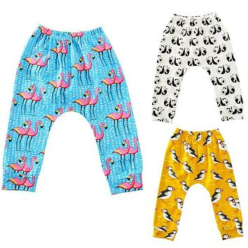 Cute Baby Boy Girl Cotton Cartoon Sport Pant Kids Jogger Elastic Bottom Trouser Clothes For 9M-24M