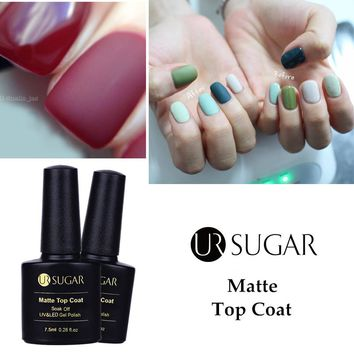UR SUGAR 7.5ml Nail Gel Polish Matte Top Coat Soak Off UV Gel Vanish Manicure Nail Art Gel Polish