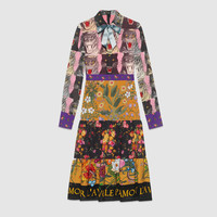 Gucci Patchwork print viscose dress