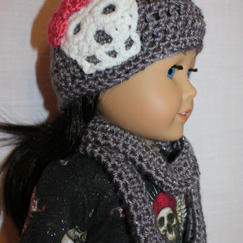 crochet beanie hat with skull, crochet doll hat,  skinny infinity scarf, 18 inch doll clothes, american girl, maplelea