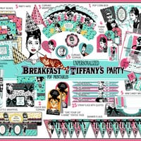 Breakfast at Tiffany's party printables, Audrey Hepburn party, box, candy wrapper, invitation, birthday, quotes, thank you tags, paper PDF