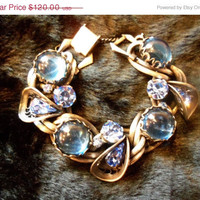 On Sale Vintage Blue Rhinestone Chunky Bracelet 1950's 1960's Collectible Jewelry Mad Men Mod Mid Century Old Hollywood Glam Rockabilly