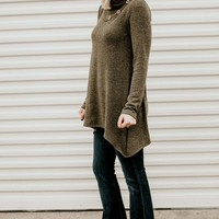 Button Me Up Olive Button Detail Tunic