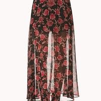 FOREVER 21 Romantic Rose Maxi Skirt Black/Red Large