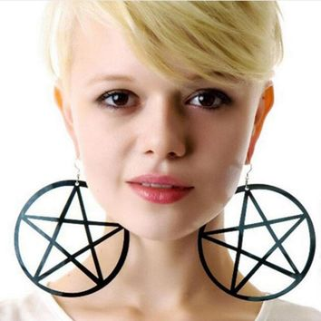 Fashion Oversized hyperbole exaggerated mix long earring hang hollow circle Pentagram star earrings for women acrylic #278039