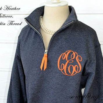 Personalized Pullover with Quarter Zipper - Monogrammed pullover with collar, Personalized Bridesmaids Shirts monogram fleece sweatshirt