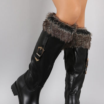 Buckled Faux Fur Cuff Knee High Rain Boots