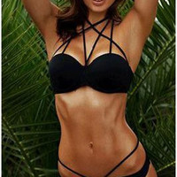WOW !! Hot Black Bikini Set Halter Caged Criss-cross Strappy Swimwear Push Up