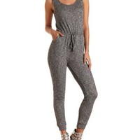 Heathered & Ribbed Tank Jumpsuit by Charlotte Russe - Gray Combo