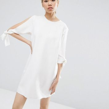 ASOS Shift Dress With Split Sleeve and Tie Detail at asos.com