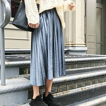 New 2017 Autumn And Winter High Waisted Skinny Female Velvet Skirt Pleated Skirts Pleated Skirt Free Shipping
