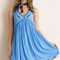 Button Down Embroidered Dress