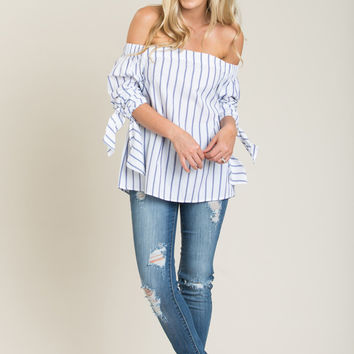 Keira Blue and White Striped Off the Shoulder Top