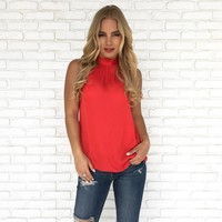 Nine To Fine Blouse in Red