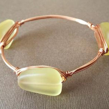 Wire Bangle Bracelet, Copper Bangle, Sea Glass Bracelet, Boho Bracelet, Wire Wrapped Jewelry Handmade, Yellow Bracelet, Copper Bracelet