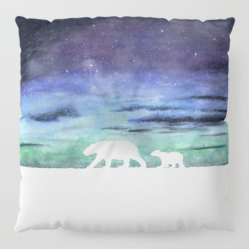 Aurora borealis and polar bears (white version) Floor Pillow by Savousepate