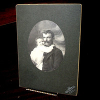 Antique Cabinet Card, Father And Daughter Bijou Style Cabinet Card