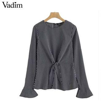 Women flare sleeve striped shirt knot design long sleeve o neck blouse slim fit autumn wear tops