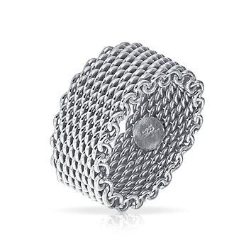 Cable Mail Chain Woven Mesh Band Ring Weave Braided Sterling Silver