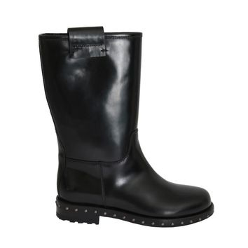 Black Leather Mid-Calf Logo Boots