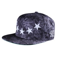 40 Oz Roses and Stars Snapback Hat in Black