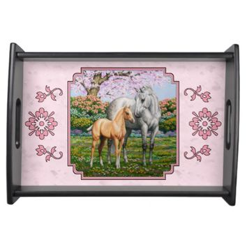 Quarter Horse Mare and Foal Pink Service Tray