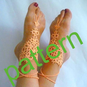 Tatting pattern - tutorial -  PDF pattern - download PDF  - OOAK - instant download - barefoot sandals pattern - for needlework