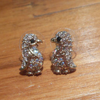 Penguin Earrings - Rhinestone Penguin Earrings