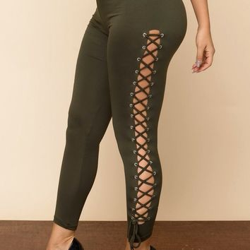 Melodie Laced Up Leggings - Olive
