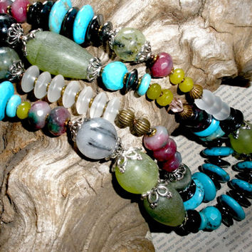 CHUNKY LONG Multistrand GEMSTONE Necklace, Handcrafted Multistrand Chunky Necklace, Pearls Agate Variscite Turquoise Fluorite Cherry Quartz