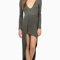 Plain V-Neck Asymmetrical Dress
