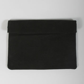 chic suede fold over clutch - black
