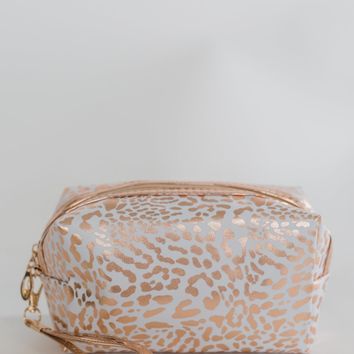 Pulse Perk- Animal Printed Cosmetic Bag- White & Gold