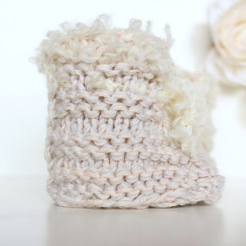 Baby Booties, Neutral Baby Gift Shoes, Cream baby booties, Crib Shoes, Baby Girl Booties